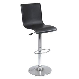 New Winsome Wood Spectrum Black High Back L Shape Air Lift Bar Stool