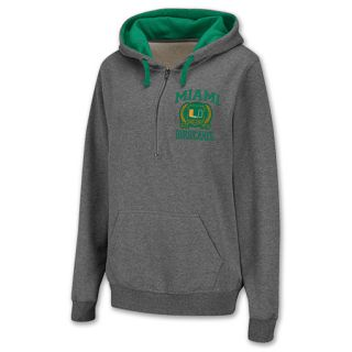 Miami Hurricanes Half Zip NCAA Womens Hoodie Grey