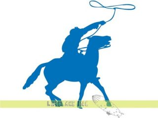 Cowboy on Horse with Lasso Float Vinyl Decal Sticker Wild West Outback