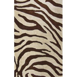 NuLoom Safari Zebra Print 6 Foot Round Wool Area Rug