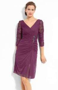 Adrianna Papell Purple Embellished Ruched Mesh Dress Petite Size 8P