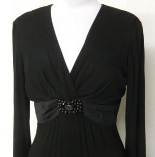 Jessica Howard Petite Size 8P Black Rayon Stretch Knit Dress Beaded