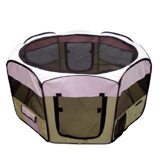 Pink 45 Pet Puppy Dog Playpen Exercise Pen Kennel 600d