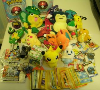 Big Pokemon lot plush toys figures trading cards Pikachu Snivy Pansage