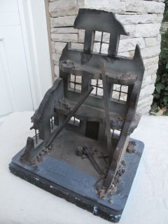Custom G Scale 129 Gauge 1 or 2   Model Railroad Structure Burned