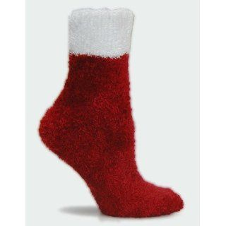 Holiday Microfiber Fuzzy Santa Socks by Foot Traffic (Size