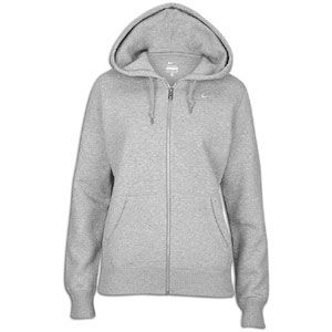 Nike Classic Fleece Swoosh Full Zip Hoodie   Womens   Grey Heather