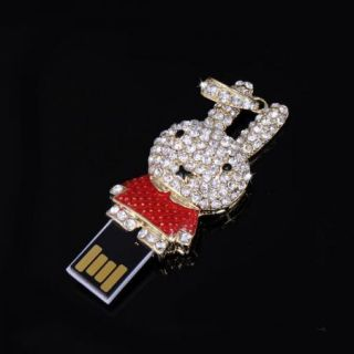 4G Cute Rabbit Rhinestone Hang Adorn USB Flash Drive