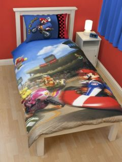 Mario Kart Race Reversible Panel Single Bed Duvet Quilt Cover Set