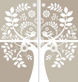 Modern Birds Tree Vine Branch Removable Panel Wall Art Decor Decal