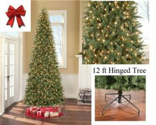 PreLit 12 ft Artificial Slim Line Christmas Tree w/ 1100 Clear Lights