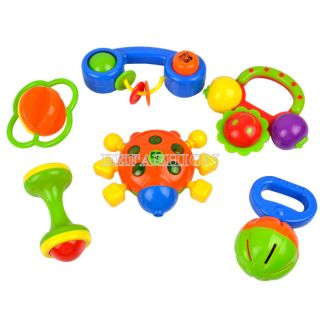 Lovely Childrens Baby Toys Plastic Colorful Hand Shake Bell Ring