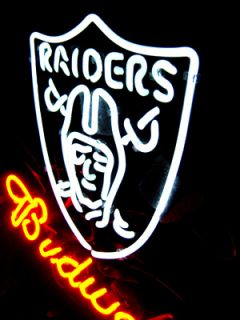 Budweiser Oakland Raiders Football Neon Light Sign ME061