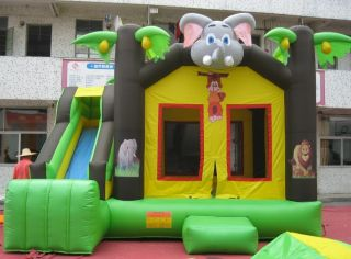 Commercial Inflatable Jungle Theme Bounce House with Jumbo Slide