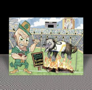 NEW Notre Dame Fighting Irish FOOTBALL ART artist signed autographed
