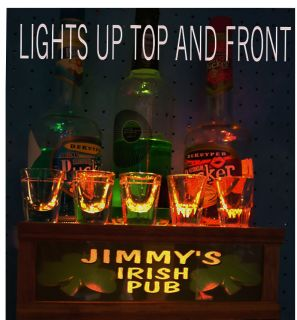 Personalized Irish Pub Lighted Shot Glass Liquor Display Stand