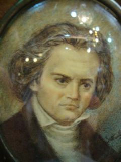 Old Miniature Painting Ludwig Van Beethoven Hand Painted Portrait