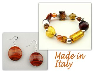 Authentic Italian Made Venetian Murano Glass Jewelry Set Bracelet