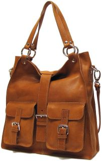 Italian Leather Handbag Purse Hobo Tote 5590 Tan