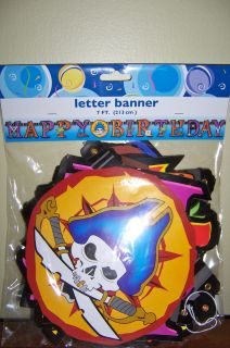 Pirate Party Supplies 7 foot HAPPY BIRTHDAY LETTER BANNER decoration