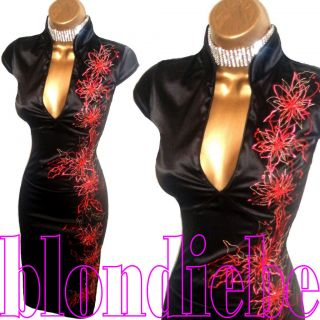Jane Norman ♥sexy♥ Black Red Satin Oriental Cocktail Dress ♥ UK