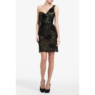 BCBG MAXAZRIA Womens Jennifer One Shoulder Floral Lace Dress