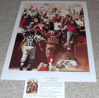 San Francisco 49ers Jerry Rice Autographed Signature Le Art Lithograph