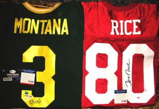 Joe Montana Jerry Rice Autographed Jersey PSA DNA Lot
