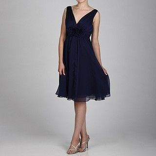 New Jessica Howard Navy Blue Chiffon Rosette Waist V Neck Cocktail