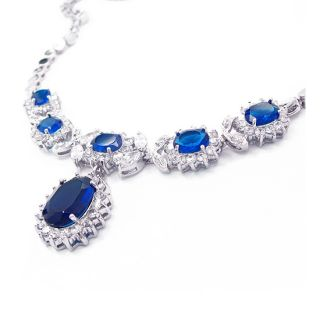 SAPPHIRE WHITE GOLD PLATED PENDANT NECKLACE SILVER TONE NECK CHAIN