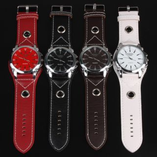 Oversized Unisex Mens Quartz Watch Wristwatch Leather Strap
