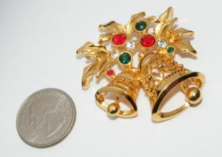 Rhinestone Christmas Bells Pin Brooch Costume Jewelry Holiday