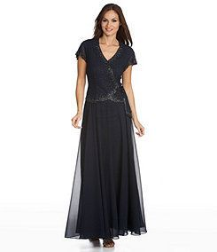 Jkara Blue Beaded Chiffon Gown Sizes 4 to 10