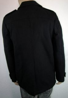 Calvin Klein Mens Black Solid Jacket Peacoat Refined Wool Blend L Pea