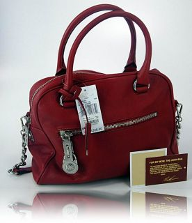 Michael Kors Womens Handbag Red Joan Leather Knox Large Satchel Purse 30T1SKXS3L