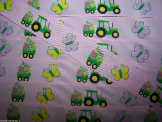 "Grosgrain Ribbon One Yard 7 8"" John Deere Pink Tractor Hair Bows Scapbook"
