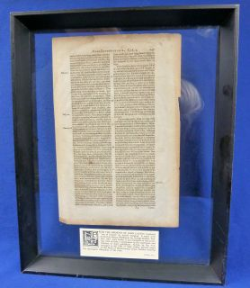1583 Page from The Sermons of John Calvin Translated by Arthur Golding Framed