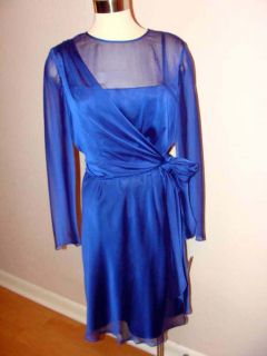 NWT 139 JONES NEW YORK SAPPHIRE CHIFFON DRAPE SIDE TIE PARTY COCKTAIL DRESS Sz12