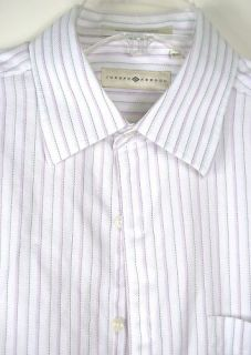 Joseph Abboud White Pink Striped Long Sleeve Dress Shirt 100 Cotton L