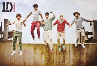 ONE DIRECTION GROUP JUMPING OFF WALL POSTER FROM ASIA U.K. Boy Band