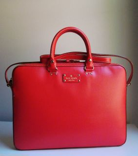 New Kate Spade Wellesley Tanner Leather Laptop Case Bag Red
