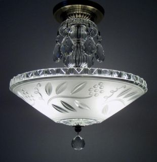 ANTIQUE ART DECO SEMI FLUSH MOUNT GLASS CEILING LIGHT FIXTURE VINTAGE