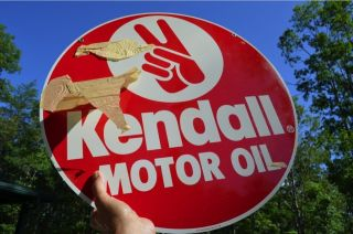 Vintage 29 Year Old Kendall Motor Oil Metal Sign 2 Sided Dead Mint