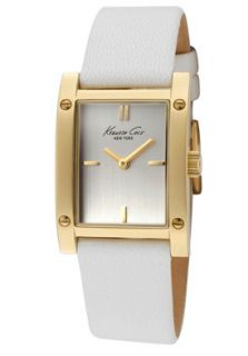 Kenneth Cole Watch KC2591 Womens Silver Dial White Textured Leather