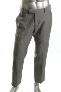 Kenneth Cole Reaction NEW Leno Gray Flat Front 4 Pocket Linen Pants 32