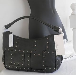 KENNETH COLE NY BLACK LEATHER STUDDED TOP ZIP SHOULDER HOBO BAG