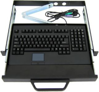 Rack Mount Keyboard with Drawer Tray Touch Pad Sliding Shelf PS2 PS 2