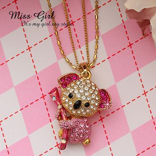 Crystal Gift Pink Koala Bear Designer Necklaces Pendants Charms