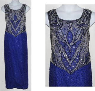 Laurence Kazar New York Silk Beaded Sapphire Blue Formal Evening Gown
