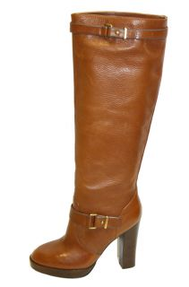 Coach Q1351 Leighton Saddle Brown Leather Knee High Boots Sz 8b NWOB $
